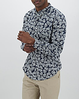 Navy Print Long Sleeve Linen Mix Shirt Long