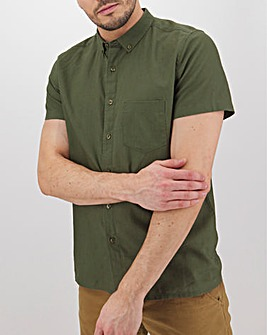 Khaki Short Sleeve Linen Mix Shirt Long