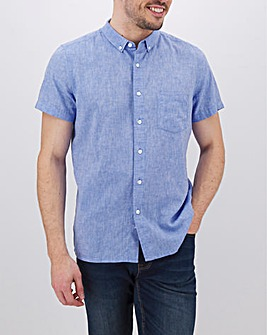 Blue Short Sleeve Linen Mix Shirt Long
