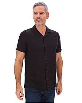 Black Short Sleeve Garment Dyed Revere Collar Shirt Long