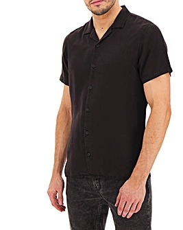 Black Garment Dyed Revere Shirt Long