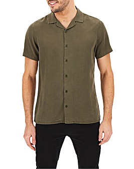 Khaki Short Sleeve Garment Dyed Revere Collar Shirt Long