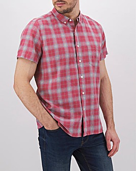 Red Check Short Sleeve Linen Mix Shirt Long