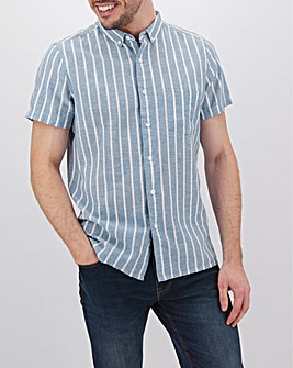 Blue Stripe Short Sleeve Linen Mix Shirt Long