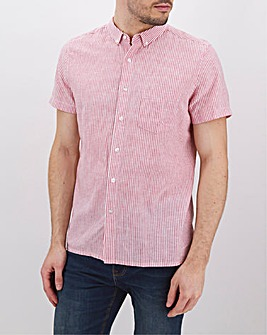 Red Stripe Short Sleeve Linen Mix Shirt Long