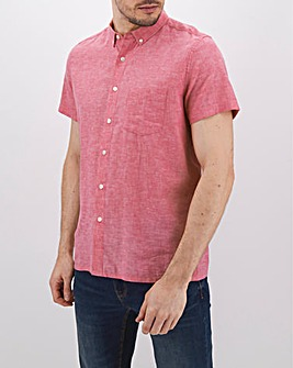 Red Short Sleeve Linen Mix Shirt Long