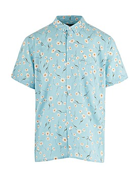 Print Short Sleeve Linen Mix Shirt