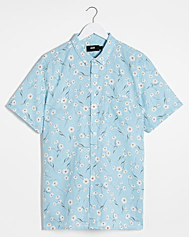 Print Short Sleeve Linen Mix Shirt Long