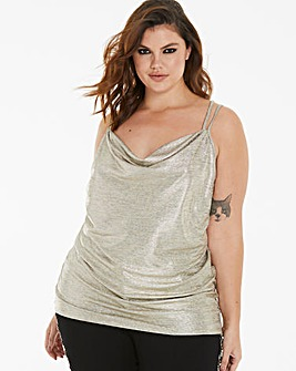 Gold Foil Cami Cowl Neck Top