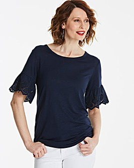 Broderie Trim Sleeve T-Shirt