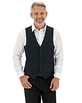 Navy Check Jason Regular Waistcoat