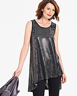 Black/Silver Asymmetric Top