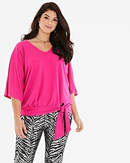 Bright Pink Kimono Sleeve Tie Side Top