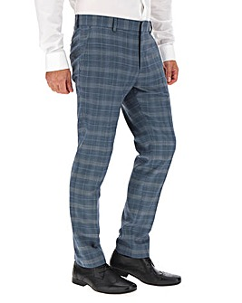 Blue Check Jim Regular Fit Suit Trousers