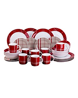 32pc Highland Red Tartan Dinner Set