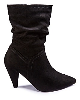 Grace Calf Slouch Heeled Boot Wide Fit
