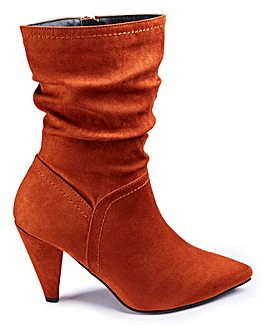 Grace Calf Slouch Heeled Boot Extra Wide