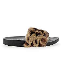 Faux Fur Slider Slippers Wide Fit