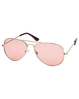 Accessorize Pink Lens Aviator Sunglasses