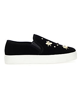 Fallon Slip On Velvet Pumps Extra Wide