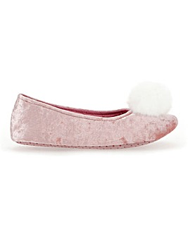 Pom Pom Ballerina Slippers Standard Fit