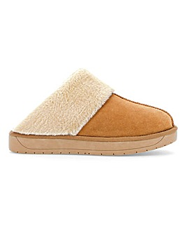 Suede Mule Slippers Wide Fit
