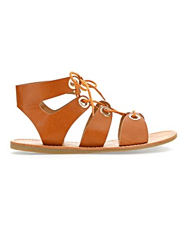 Bella Tie Up Eyelet Sandals Wide Fit