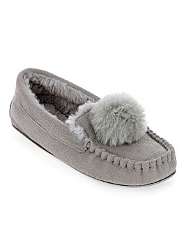Pom Pom Moccasin Slippers Wide Fit
