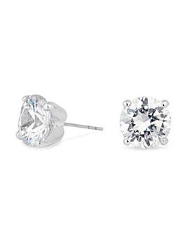 Silver cubic zirconia stud earring
