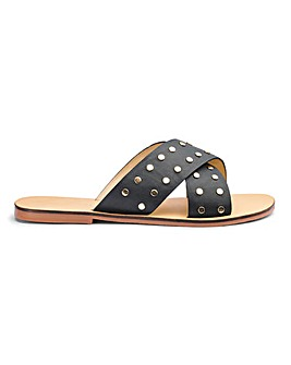 Trudy Leather Studded Slide Wide Fit