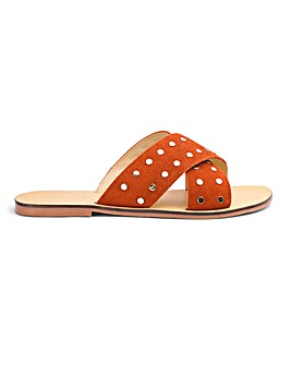 Trudy Leather Studded Slide Wide E Fit