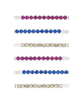 Mood Multi Colour Crystal Hair Slide Set