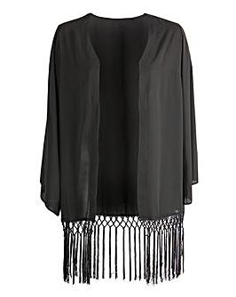 ovedrobe GB Black Fringed Hem Kimono