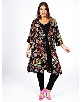Lovedrobe GB Tropical Print Long Kimono