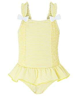 Monsoon Baby Bow Seersucker Swimsuit