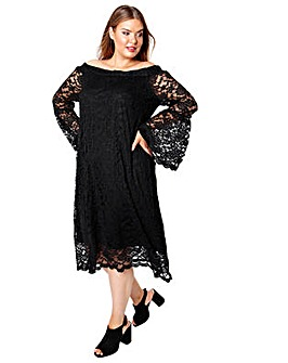 Lovedrobe GB Black Lace Bardot Dress