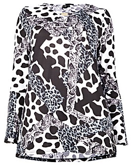 Izabel London Curve Printed Ruffle Top