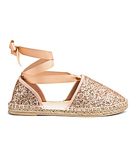Emily Glitter Espadrille Extra Wide EEE Fit