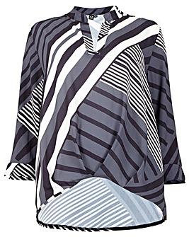 Izabel London Curve Stripe Print Blouse