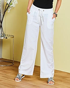 Petite Slouch Linen Mix Trousers