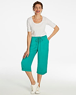 Crop Slouch Linen Rich Trousers Reg