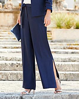 Wide Leg Crepe Tie Waist Trouser Regular