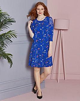 Blue Print Lace Detail Swing Dress