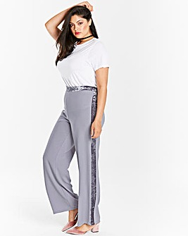Wide Leg Trouser with contrast Velour Side Stripe Regular