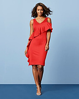 Scuba Bodycon Frill Dress