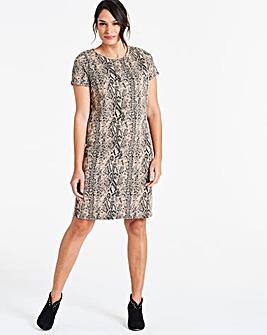Snake Print Shift Dress