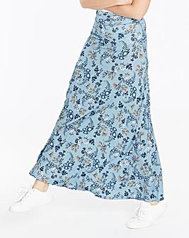 Floral Print Stretch Jersey Maxi Skirt