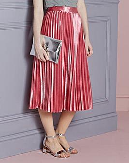 Velour Pleated Skirt