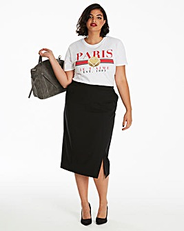 Tailored Midi Pencil Skirt