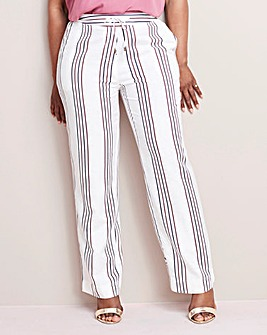 Petite Stripe Linen Mix Trousers 27in